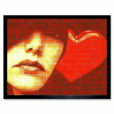 Graffiti Woman Love Heart Art Print Framed Poster Wall Decor 12X16 Inch