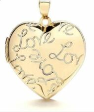 9ct Yellow Gold Heart Shaped 2 Photo LOVE Engraved Locket 25 x 25mm * Hallmarked
