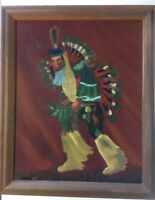 Framed Portrait of a Native American Dancer Quality Hand Painted Oil Painting