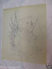 "WOOD CARVING PATTERN 17""X14"" CHIP RELIEF BURNING FISHING BEAR"