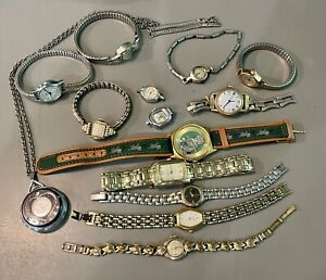 14 Vtg LADIES WRIST WATCHES PENDANT TUDOR LONGIVES BENRUS ELGIN WEBSTER SEICO