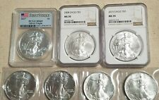 7pc American Silver Eagle Set 2008, 2015 MS70, 2017 MS69 and raw Mixed dates