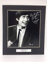 Rare Charlie Watts Rolling Stones Signé Affichage Photo + COA Autographe'Pierres