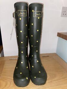 Joules Size 5 Khaki Green & Gold Polka Dot Tall Wellies Brand New
