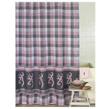 Browning Buckmark Plaid Pink Bath Shower Curtain/Bathroom Accessories Decor Logo