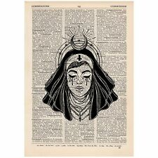 Devil Nun Moon Halo Dictionary Print OOAK, Alternative, Art,Unique, Gift,