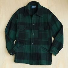 Vtg 60s 70s Pendleton Wool Green/Navy Plaid Hunting Jacket Barn Coat Size M