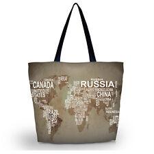 Foldable Tote Women's Shopping Bag Shoulder Carry Bag Lady Handbag World Map Bag