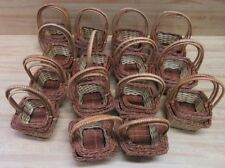 Lot 45 Small Nested Square Brown Woven Wicker Baskets w/ Handle for Gifts Crafts