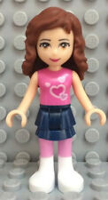 Lego Friends Olivia Minifigure w/ Hearts Top & Blue Skirt - from 3065 Tree House