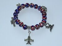 Patriotic Air Force Wife Charm Crystal Bead Bracelet - Military Wife July 4th