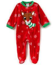 NWT Size 3 month Baby Starters Rudolph Reindeer Christmas Fleece Sleeper Pajamas