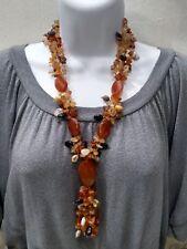 Stunning Artisan Carnelian Agate Polished Stone Necklace FREE SHIP