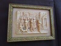 ancien cadre gimeaux en pierre calcaire pétrifiée-cadre bois art déco-procession