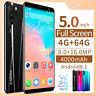 5''Inch Full Screen Smart Mobile Phone Dual SIM Unlocked  4G+64GB Android 8.1