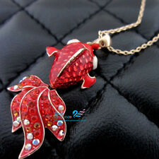 18k 18ct gold GF gold red fish solid Necklace made with swarovski  #BO50