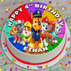 PAW PATROL CHARACTERS BIRTHDAY PERSONALISED 7.5 INCH EDIBLE CAKE TOPPER Q053