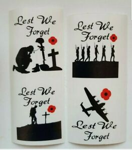 4 lest we forget designs wine glasses small Vinyl Decal sticker.