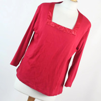 Per Se Womens Size 14 Red Plain Cotton Top