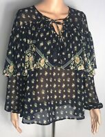 Flying Tomato Womens Blouse Top Blue Size Small Sheer Floral Short Sleeve Shirt