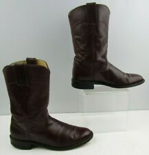 Ladies Justin Maroon Leather Roper Western Boots Size: 6.5 B