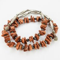 Vintage Southwestern Goldstone Necklace Silver Tone Beads 20.75 Inches Long