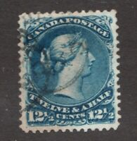 #28  - Canada - 1868  - 12½  Cent -  Used   -  VF  - superfleas