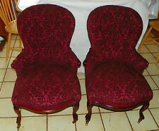 Pair of Rosewood Slipper Parlor Chairs / Sidechairs by Belter  (SC101)