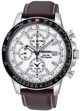 Seiko Men's SSC013 'Solar Flight' Chronograph Brown Leather Watch