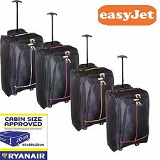 "Lightweight 55cm/21"" Hand Luggage Trolley Bag Cabin Flight Suitcase Ryanair Jet2"