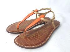 SAM EDELMAN Gigi US 8.5M Orange & Tan Leather Slingback Thong Sandals Shoes