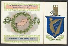 Postcard Ireland harp crest Hand Clasp From Erin embossed Shamrock posted 1906