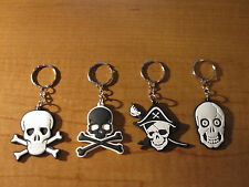 (4) SKULL Crossbones POISON Pirate Keychains Key Chain PVC Rubber FOB Metal Ring