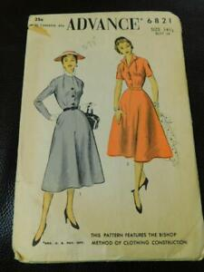 Vintage 1940s ADVANCE Sewing PATTERN 6821 Dress Size 14 1/2 Bishop Method