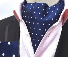 (LJA17) MenWithTie Blue Polka Dot Men Wedding Party Ascot Cravat Hanky Tie Set