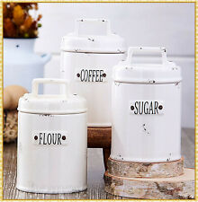 Ceramic Canisters Country Farmhouse Rustic Kitchen Storage Coffee Flour Sugar