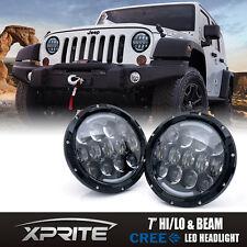 "Xprite 2x 7"" 105W CREE LED Headlight Hi/Lo Beam DRL 97-18 Jeep Wrangler JK TJ LJ"