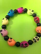 Multi-coloured Skulls Bracelet, Male, Female, Gothic, Day of the Dead,