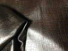 BROWN CROCODILE/ALLIGATOR EMBOSSED SMOOTH FINISHED PREMIUM LAMB SKIN HDE LEATHER