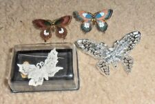 4- VINTAGE & GORGEOUS BUTTERFLY PIN LOT VERY OLD