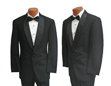Men's Black Perry Ellis Tuxedo with Pants Silver Vest & Tie Prom Cruise Wedding