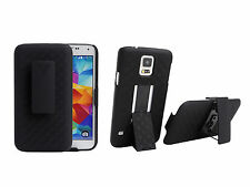 For Samsung Galaxy S5 i9600 Ribbed Shell Holster Belt Clip Case   Stand Holder