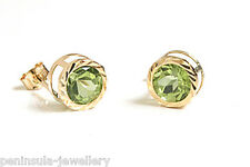 9ct Gold Peridot stud Round Earrings Made in UK Gift Boxed Studs Christmas Gift