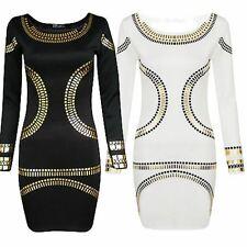 New Womens Plus Size Gold Foil Polka Dot Printed Long Sleeve Midi Dress 16-26