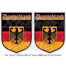 """Alemania escudo Deutschland Alemán 75 mm (3"""") x2 Pegatinas Calcomanías De Parachoques"""