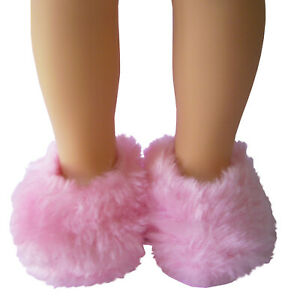 """Pink Fuzzy Slippers for 14.5"""" Wellie Wishers Doll American Girl Accessories"""