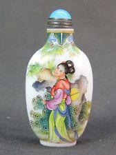 Fine Chinese Ladies Pattern Hand Painted Peking Enamel Glass Snuff Bottle