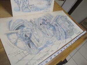 VINTAGE He-Man Animation MOTU CONCEPT ART Signed Background Castle RARE cels