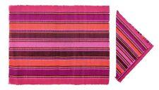 Colorful Handwoven Mat and Napkin Set - Fuchsia (Set of 6)