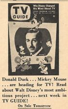 1957 TV GUIDE AD~WALT DISNEY & FRIENDS~DONALD DUCK~PLUTO~MICKEY MOUSE~GOOFY